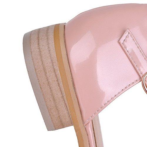 AgooLar Mujeres Hebilla Puntera Cerrada Mini Tacón Cuero Sólido Sandalia Rosa
