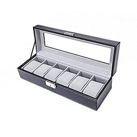 Sodynee WBPU6-03 6-Compartment, PU Leather Display Glass Top Watch Organizer Box