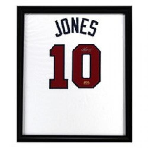 delicate Chipper Jones Signed Jersey - Framed White Custom ...