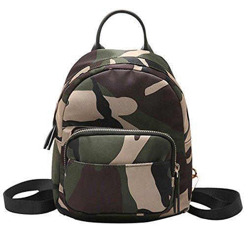 - Queena Fashion Girls Mini Nylon Backpack Top Handle Shoulder Bag School Bag Daypack Purse Camouflage
