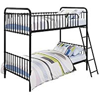 Novogratz Berkshire Metal Bunk Bed, Space-Saving, Twin Size, Black