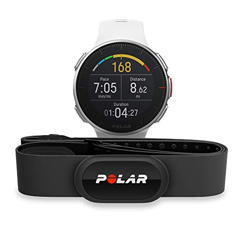 POLAR VANTAGE V - Premium GPS Multisport Watch for Multisport & Triathlon Training (Heart Rate Monitor, Running Power, Waterproof), Pro (Includes H10 HRM Chest Strap), White
