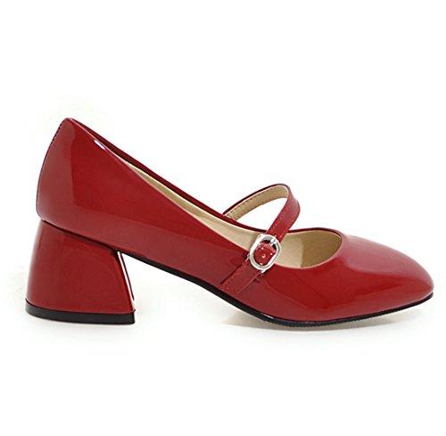 YE Damen Mary Jane Lack Pumps Chunky Heels mit Schnalle und Blockabsatz 5cm Bequem Freizeitschuhe 7yyQK