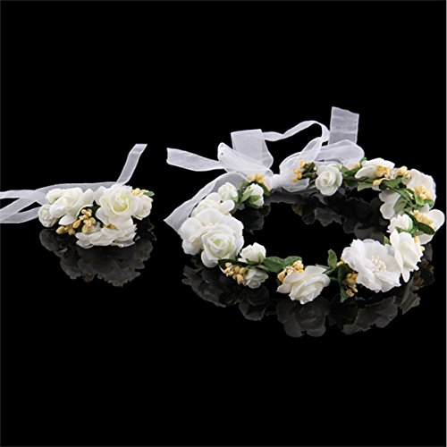 FUMUD Women Lady Girl Bohemia Handmade Flower Crown Wedding Wreath Bridal Headdress Headband Hairband Hair Band Accessories (creamy-white)