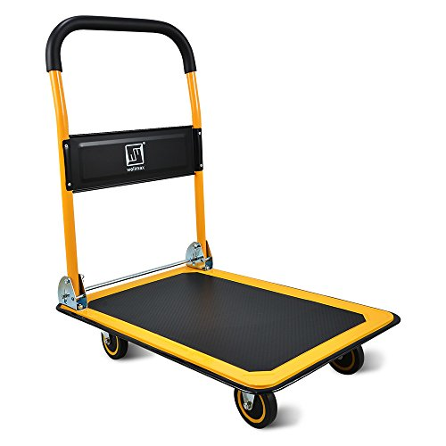 Push Cart Dolly by Wellmax, Moving Platform Hand Truck, Foldable for Easy Storage and 360 Degree Swivel Wheels with 660lb Weight Capacity, Yellow Color ()