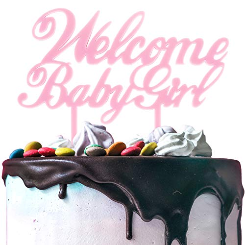 Baby Sweet Cakes (Welcome Baby Girl Pink Acrylic Cake Topper Cheers to Sweet Baby Girl Shower Birthday Supplies Decorations. 5.9'' x 5.9''(Pink))