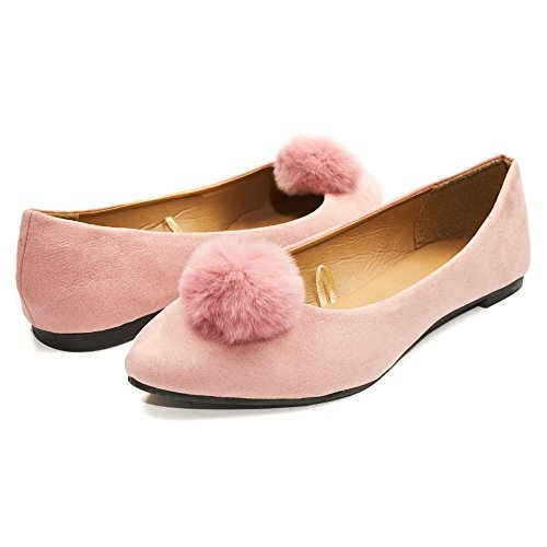 Sara Z Womens Microsuede Velvet Pointed Ballet Flat Shoes With Pom Pom (See More Colors and Sizes) Blush