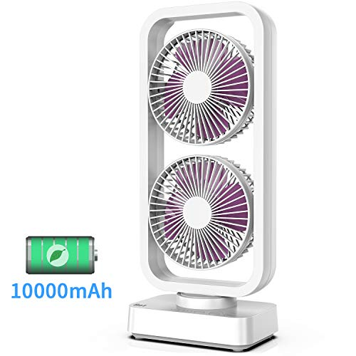 OPOLAR Quiet Oscillating Battery Operated Desk Fan with 10000mAh Capacity, Portable USB Fan with 6-24 Working Hours, Fast Charging, Multi-Directional Wind, Ideal for Home Office Camping Travel Use