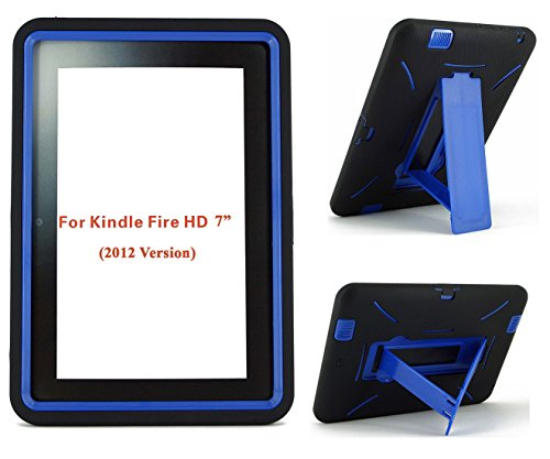 Amazon Kindle Fire HD Case 7 inch (2012 Version) [NOT for Fire HDX 7] Heavy Duty Hard Hybrid Protective Air Cushion Horizontal & Vertical View Kickstand Tablet Case Cover (Black/Blue) (Kindle Fire Hdx 7 Case Protective)