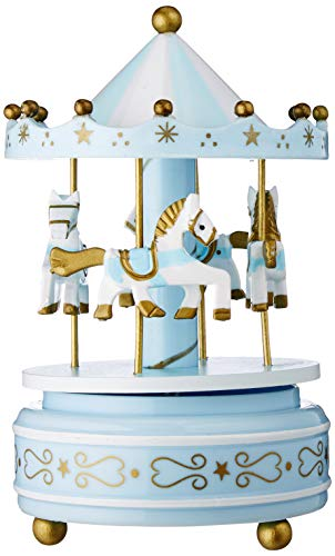 Carousel Music Box Castle in The Sky - Wooden Horse, Rotate with Music, Blue Memories Birthday for Kids DIFFMELY (Music Box Blue)