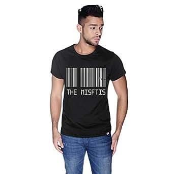 Creo Black Cotton Round Neck T-Shirt For Men