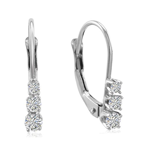 AGS Certified 10K White Gold Three Stone Diamond Leverback Earrings 1/4cttw