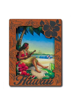 Hawaiian Plumeria Travel Size Lotion & Wood Hula Girl Magnet in Gift Bag Set by The Island Bath & Body (Image #1)