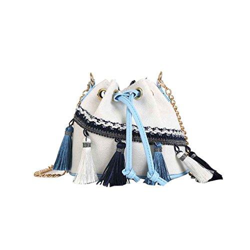 Bolso Mujeres de de Blanco Bolsa con Hombro Lienzo Bolsa Viento flecos cordón Mengonee cadena cubo de Niñas mensajero Mini con z1wvYFd