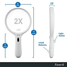 Fancii Large LED Lighted Handheld 2X Magnifier with 3.5X Zoom, 5.5 Inches Oversized Illuminated Magnifying Glass with Light