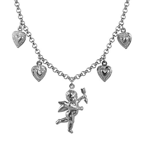 DLNCTD Titanium Steel Stainless Steel Love Angel Wing Love Heart Bell Clavicle Chain Necklace