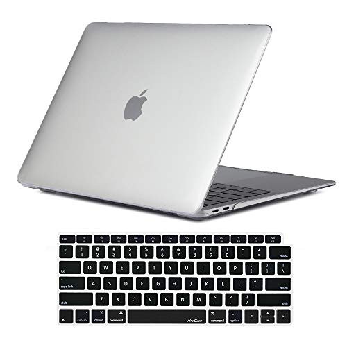 ProCase Hard Case for MacBook Air 13 Inch 2018 Release, Hard Shell Case Cover for MacBook Air 13-inch Model A1932 with Keyboard Skin Cover –Crystal