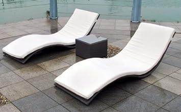 Perfekt Polyrattan Relaxliegen MIMIKRI Duo 2er Set Rattanliege Sonnenliege Braun