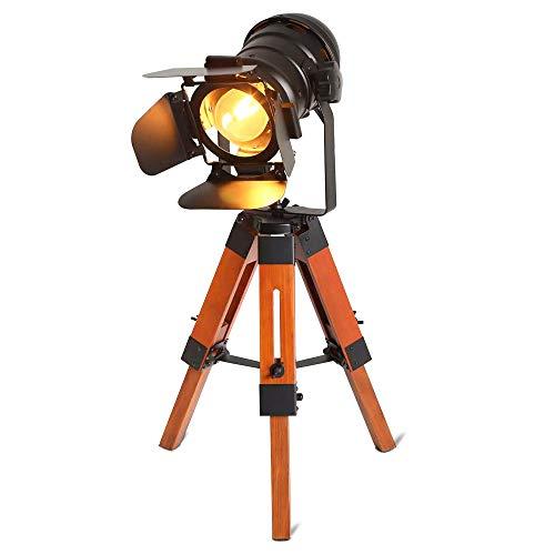 BarcelonaLED LV238 Lampara de pie vintage con tripode de madera, diseno cine nautica industrial, foco proyector orientable negro, para bombilla E27, 67cm