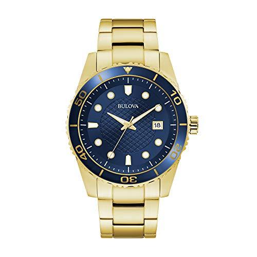 (Bulova Sport Blue Dial Yellow Gold-tone Mens Watch 98A197)
