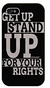 iPhone 4 / 4s Bob Marley Quotes - Get up, stand up for your rights - black plastic case / Inspirational and Motivational