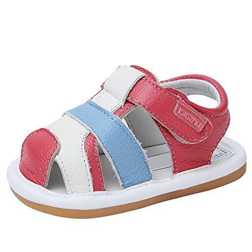 Baby Summer Sandals Genuine Leather Rubber Sole Outdoor Shoes for Boys Girls 9-30 Months (17(Inside length-12cm)(9-12months), Rose) ()