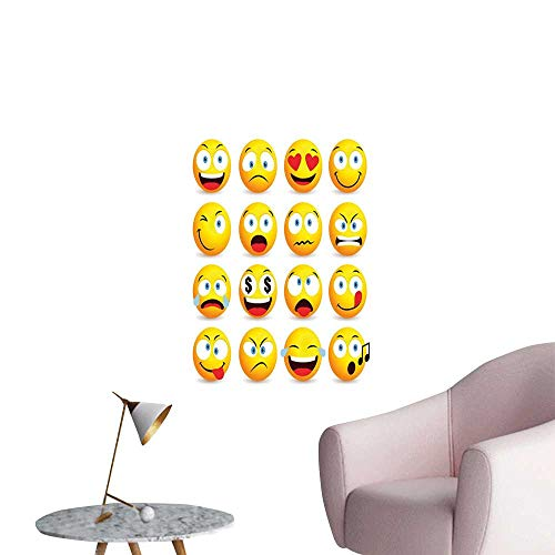 Emoji Poster Sticker Smiley Faces Collection with Circular Shapes with Various Emotions Singing Angry Stair Elevator Side Multicolor W20 x H28 ()