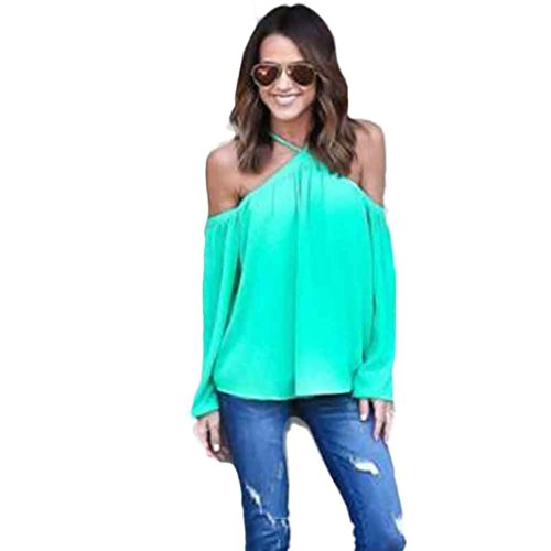 Strapless T-shirt,Laimeng Women Fashion Irregular Strapless Chiffon T-shirt (XL, Green)