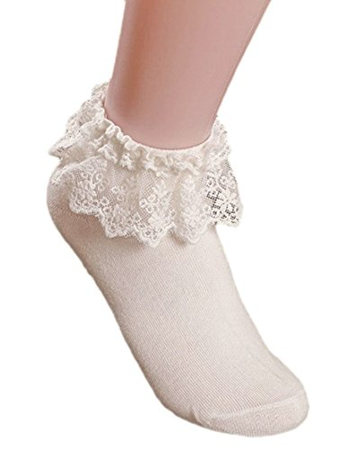 AM Landen Super Cute Cream Beige Women's Ankle Socks Trim Dress Socks Ruffle Frilly Socks Cream Ruffle