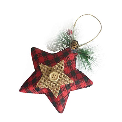 MomeHanging Pendants  10PC Christmas Decor Baby Friends Gifts - Linen Pendant Tree Ornament Party Home Hanging Decor - Star Pattern (A) from MOME~Christmas Decorations For Home