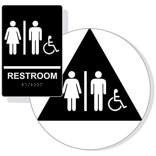 Unisex Accessible Restroom Sign Set with ADA Braille, 2 Pieces for Wall/Door, 12 in. White on Black Acrylic with Mounting Strips by ComplianceSigns ()