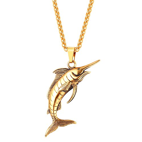 U7 Personalized Vintage Ocean Jewelry 18K Gold Plated Swimming Swordfish Pendant Necklace for Men Boys
