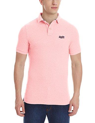 Superdry Classic Piqué Polo-Shirt für Herren (L, Rosa-Blau)
