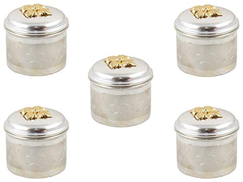 GoldGiftIdeas Silver Plated Kumkum Box, Indian Pooja Article for Gift, Silver Plated Pooja Items for Home, Return Gift for Wedding and Housewarming with Designer Potli Bags (Pack of 5)