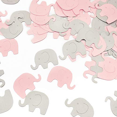 Pink Elephant Confetti 200 pcs Elephant Scatter Baby Shower Decoration for Girl Baby Shower Birthday Party Supplies Elephant Theme Party Supplies (Pink+Gray) ()