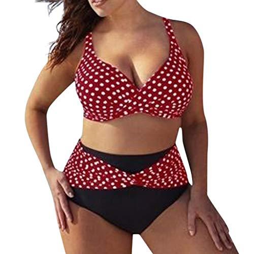 kaifongfu Plus Size Two Pieces Swimwear, Women Solid Color Bikini Set High Waist Low Cut Beachwear Swimsuit Tankini Suits(Red,XL) - Boys Infant Race Long Sleeve