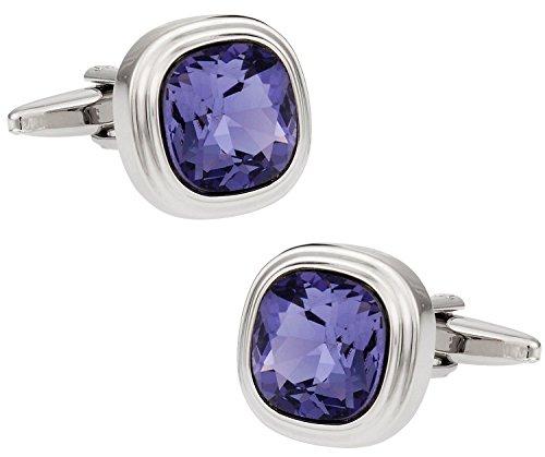 Cuff-Daddy Swarovski Tanzanite Blue Purple Crystal Cufflinks with Presentation Box
