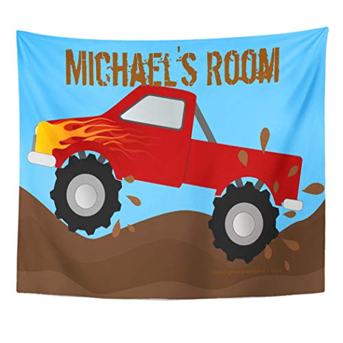 Semtomn Tapestry Artwork Wall Hanging Racing Red Monster Truck Mud Children Kid Room Boy 60x80 Inches Tapestries Mattress Tablecloth Curtain Home Decor Print -