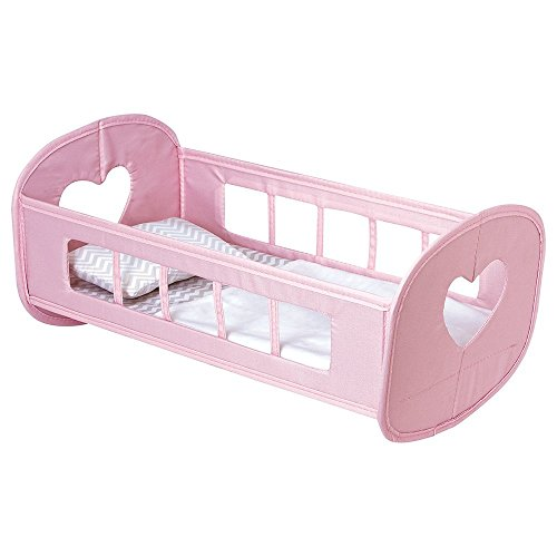 """Adora Zig Zag Pack N Play Baby Doll Cradle 16"""" Rocking Nursery Basket Bed Play Set Toy for Children Kids Age 2 and up - Pink by Adora"""