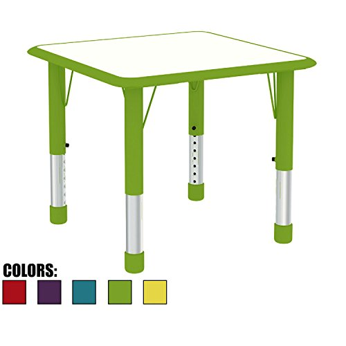 "2xhome - Kids Table Green Height Adjustable Square Shape Child Laminate Top Activity Table Bright Vibrant Colorful Learn & Play School Home Fun Children Furniture Rounded Safety Corner 24"" x 24"