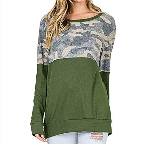 Forthery Women Shirt Casual Camo Color Blocked Long Sleeve Sweatshirt(Green,Small) -
