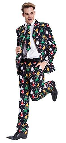 Costume Fancy Dress Cleaner (YOU LOOK UGLY TODAY Mens Bachelor Party Suit Funny Costume Novelty Xmas Jacket with Tie CHRISTMAS SNOWMAN-X)