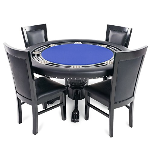 BBO Poker Nighthawk Poker Table for 8 Players with Blue Speed Cloth Playing Surface, 55-Inch Round, Includes 4 Dining Chairs Review