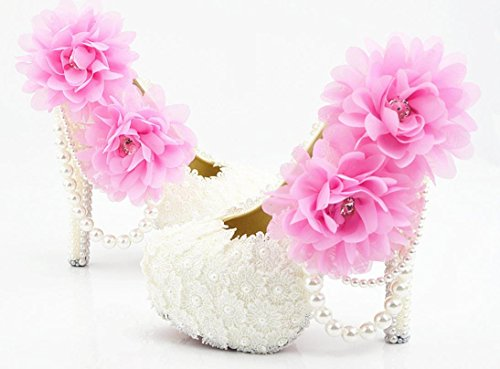 YCMDM donna di grandi dimensioni scarpe da sposa in polvere White Lace eccellenti dell'alto con il vestito da sposa rotonda scarpe da damigella d'onore Nightclub Scarpe , 14 cm with high reservation ,