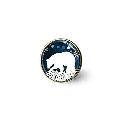 Polar Bear Brooch,Christmas Brooch,Blue and White Snowflake Art Brooch ,Unique Brooch Customized Gift,Everyday Gift Brooch