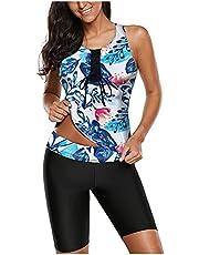 Tankini Badpak voor dames, buikcontrole, top met korte broek, tweedelig badpak, sport badpak