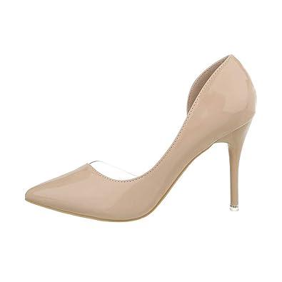 68adc1eeec4a62 Ital-Design High Heel Damen Schuhe T-Spange Pfennig- Stilettoabsatz ...
