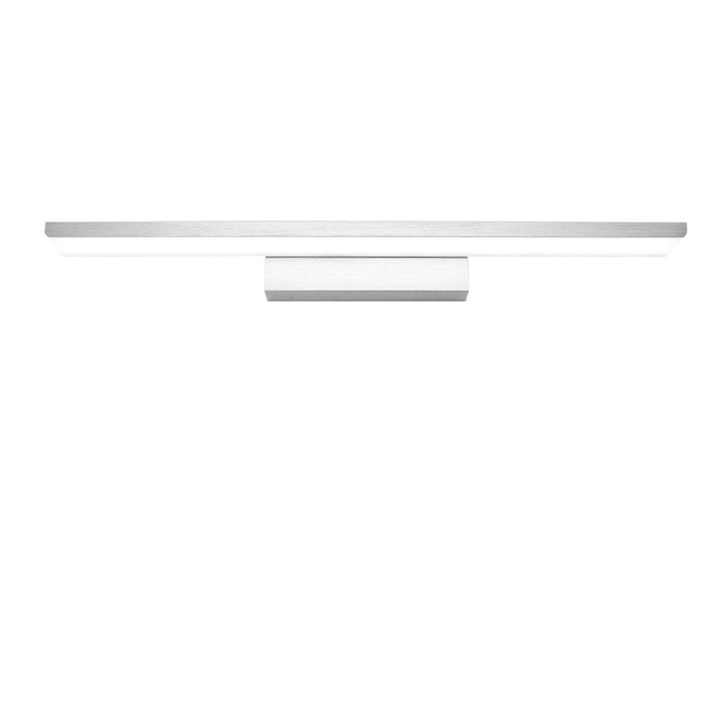 Simple Mirror Light LED, Anti-fog Bathroom Mirror Headlight, Bedroom Mirror Cabinet Light, Acrylic Wall Washer, Bathroom Wash Lamp, Aluminum Lamp Body (Silver) (Size : L61cm white light)