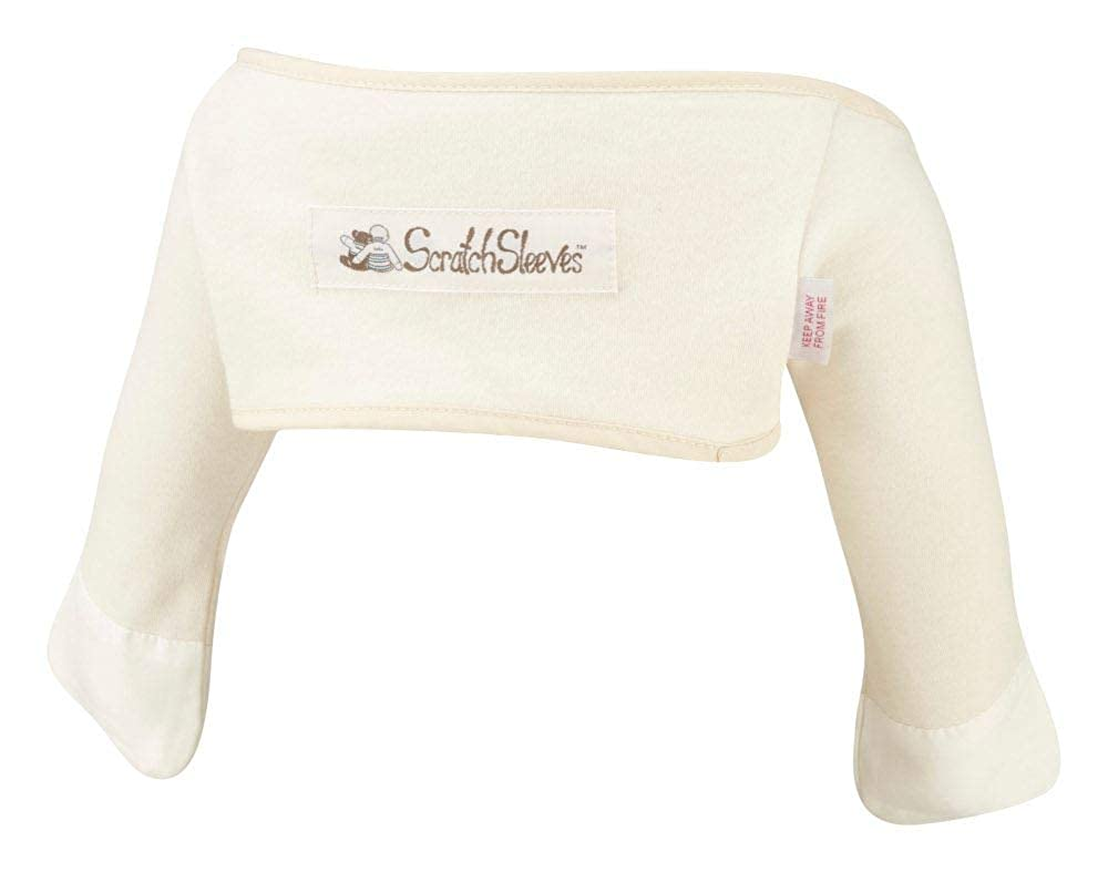 ScratchSleeves | Stay-on Scratch Mitts for Itchy Babies | Cream/Cappuccino