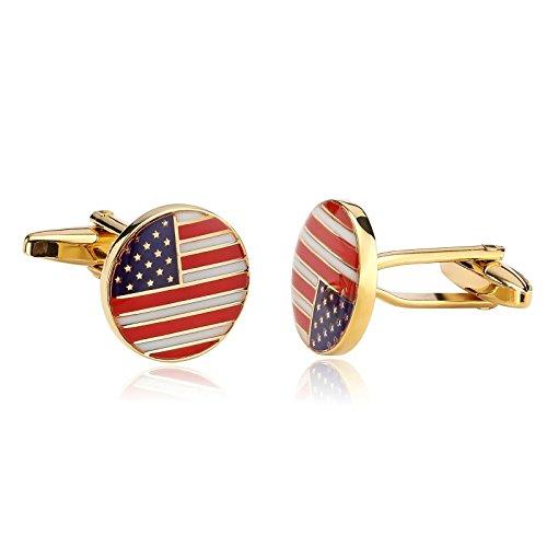 KnSam Stainless Steel Cufflinks for Mens Women American USA Flag Patriotic Round Cufflink Set Blue Red